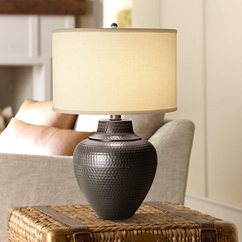 Maison Loft Hammered Pot Table Lamp by Franklin