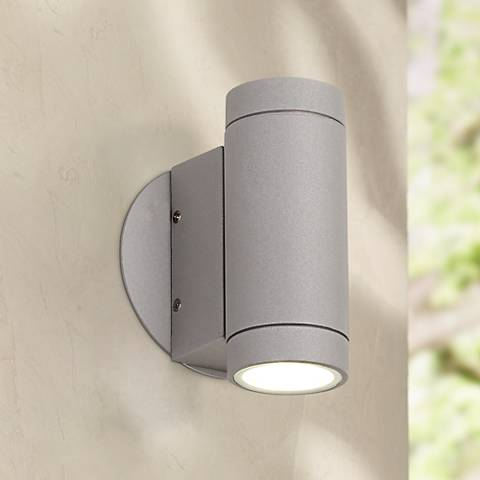 Possini euro matte silver outdoor led up and down wall light possini euro matte silver outdoor led up and down wall light audiocablefo