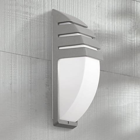 "Matte Silver 13 3/4"" High Outdoor Wall Light"