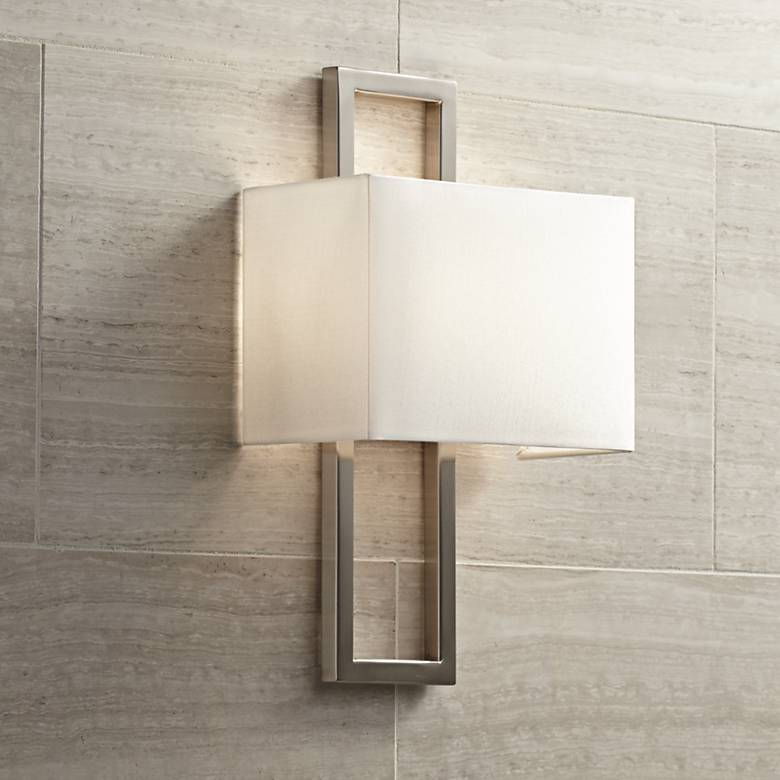 "Possini Euro Brushed Nickel 15 1/2""H Rectangular Wall Sconce"