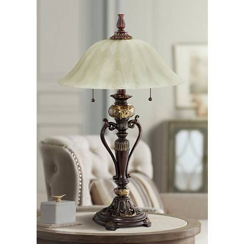 Amor collection glass shade accent table lamp in bronze r9411 amor collection glass shade accent table lamp in bronze aloadofball Gallery