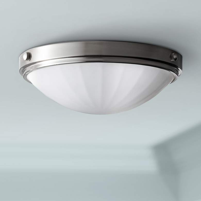 "Feiss Perry Brushed Steel 13"" Wide Flushmount Light"