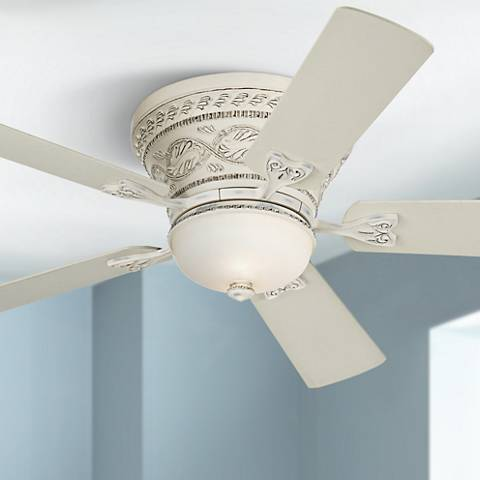 52 casa vieja ancestry white hugger ceiling fan r9715 lamps plus 52 casa vieja ancestry white hugger ceiling fan aloadofball Image collections