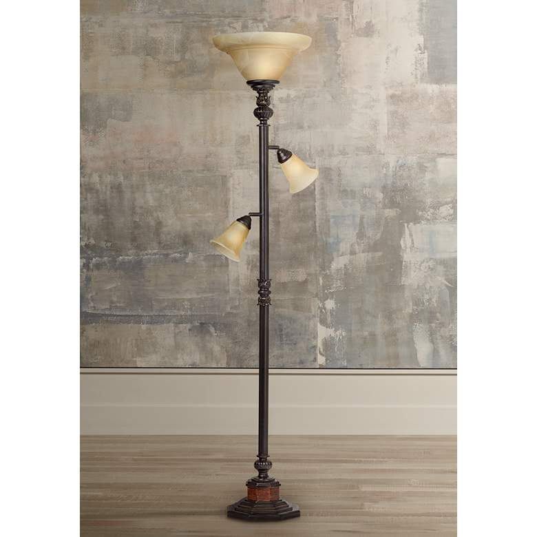 "Kathy Ireland Sonnett 72"" HIgh 3-Light Torchiere Floor Lamp"