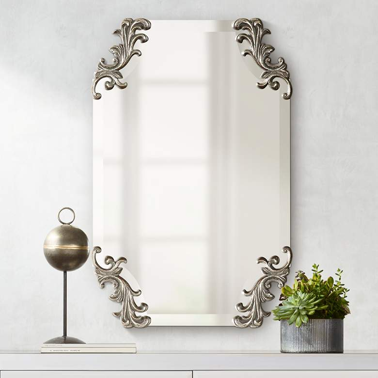 "Andretta Antiqued Silver 19 1/4"" x 29 1/4"" Wall Mirror"