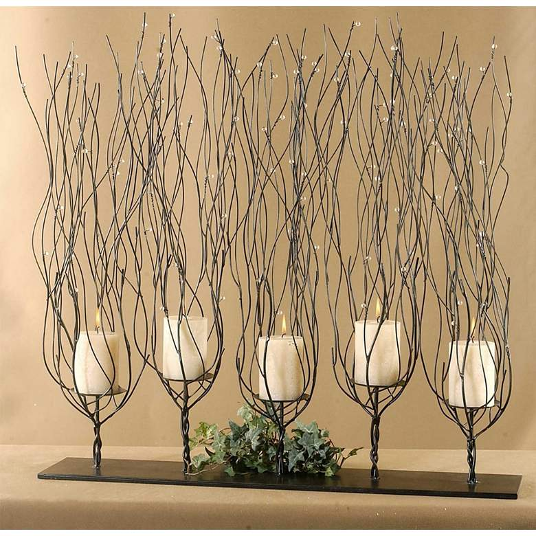 "Fedora 31"" Wide 5 Candle Tree Branch Candle"