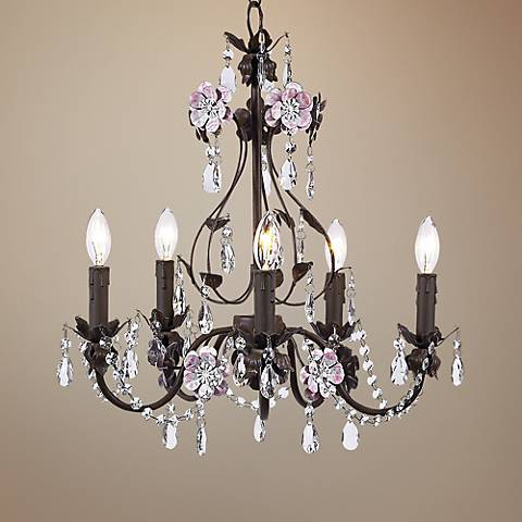 "Flower Garden Pink & Mocha 17"" Wide Chandelier"