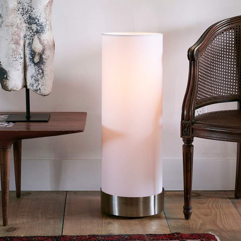 Lights Up! Meridian Nickel White Linen Shade Table Lamp