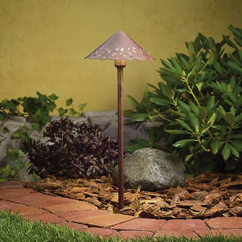 Bronze Finish Hammered Roof LED Landscape Path Light