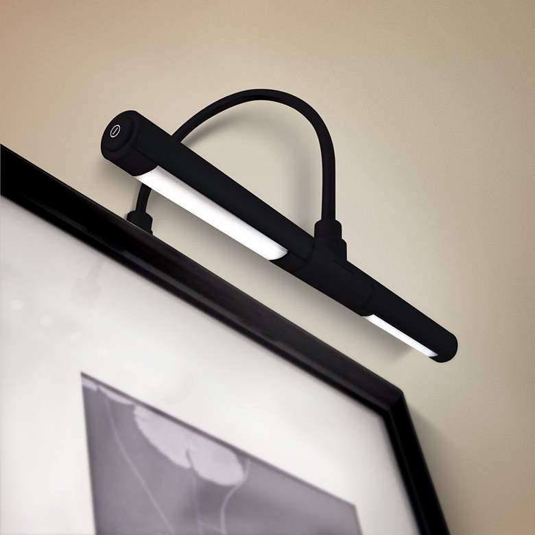 "Black Battery Powered 13""W Dimmable Picture Light"