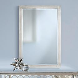 "Possini Euro Metzeo Brushed Nickel 22"" x 33"" Wall Mirror"