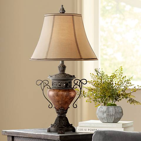 Large Bronze Crackle Urn Table Lamp