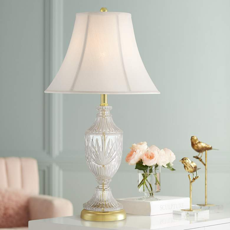 Traditional Cut Glass Urn Table Lamp with Brass Accents