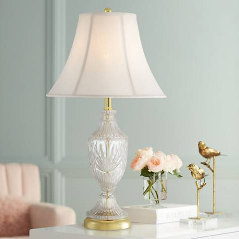 Cut Glass Urn With Brass Accents Table Lamp T4688