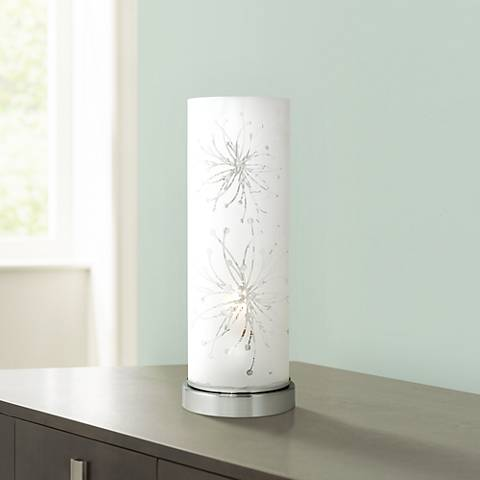 Frosted glass cylinder 14 1 4 high accent table lamp