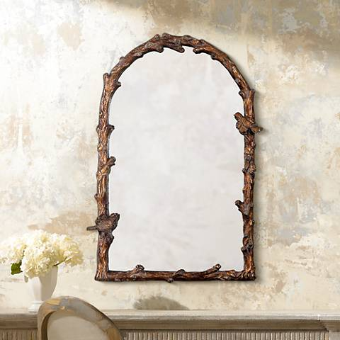"Uttermost Paza 26"" x 36 3/4"" Songbirds Arch Wall Mirror"