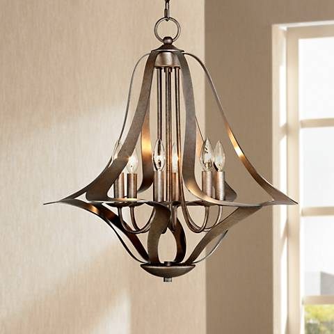 Possini Euro 6 Light Corinthian Bronze Bell Chandelier