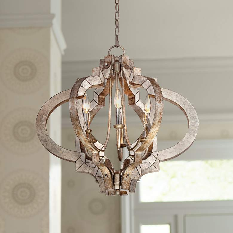 "Ornament Aged Silver 23 1/4"" Wide 6-Light Chandelier"