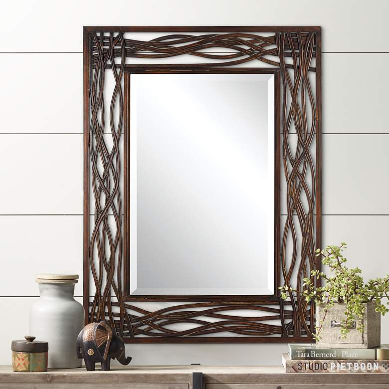"Uttermost Dorigrass Mocha Brown 32"" x 42"" Wall Mirror"
