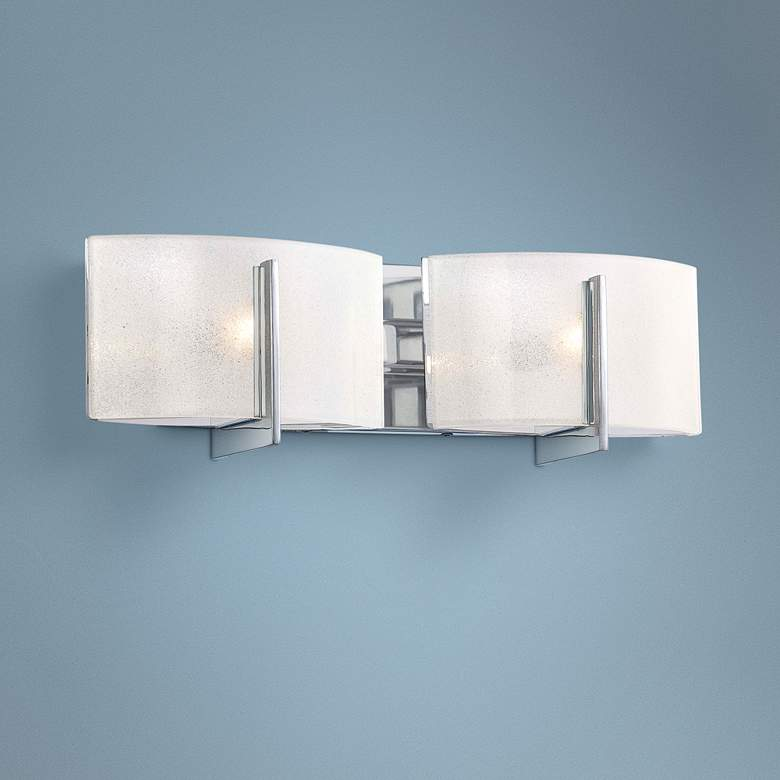 "Clarte 17 3/4"" Wide Chrome and Iris Glass 2-Light Bath Light"