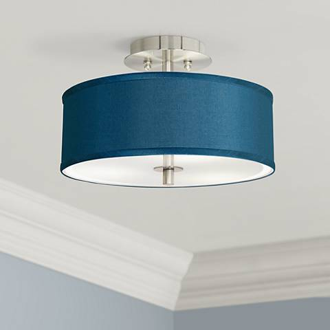 "Blue Faux Silk 14"" Wide Steel Ceiling Light"