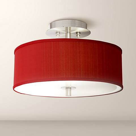 "China Red Textured Silk 14"" Wide Ceiling Light"