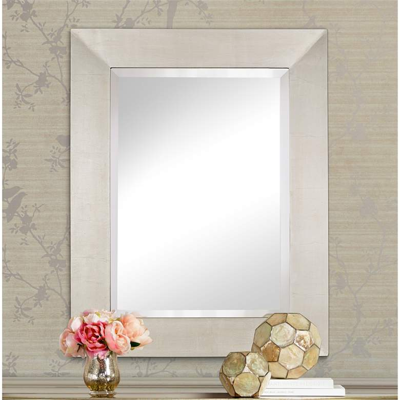 "Brondby Antiqued Silver 28"" x 36"" Rectangular Wall Mirror"