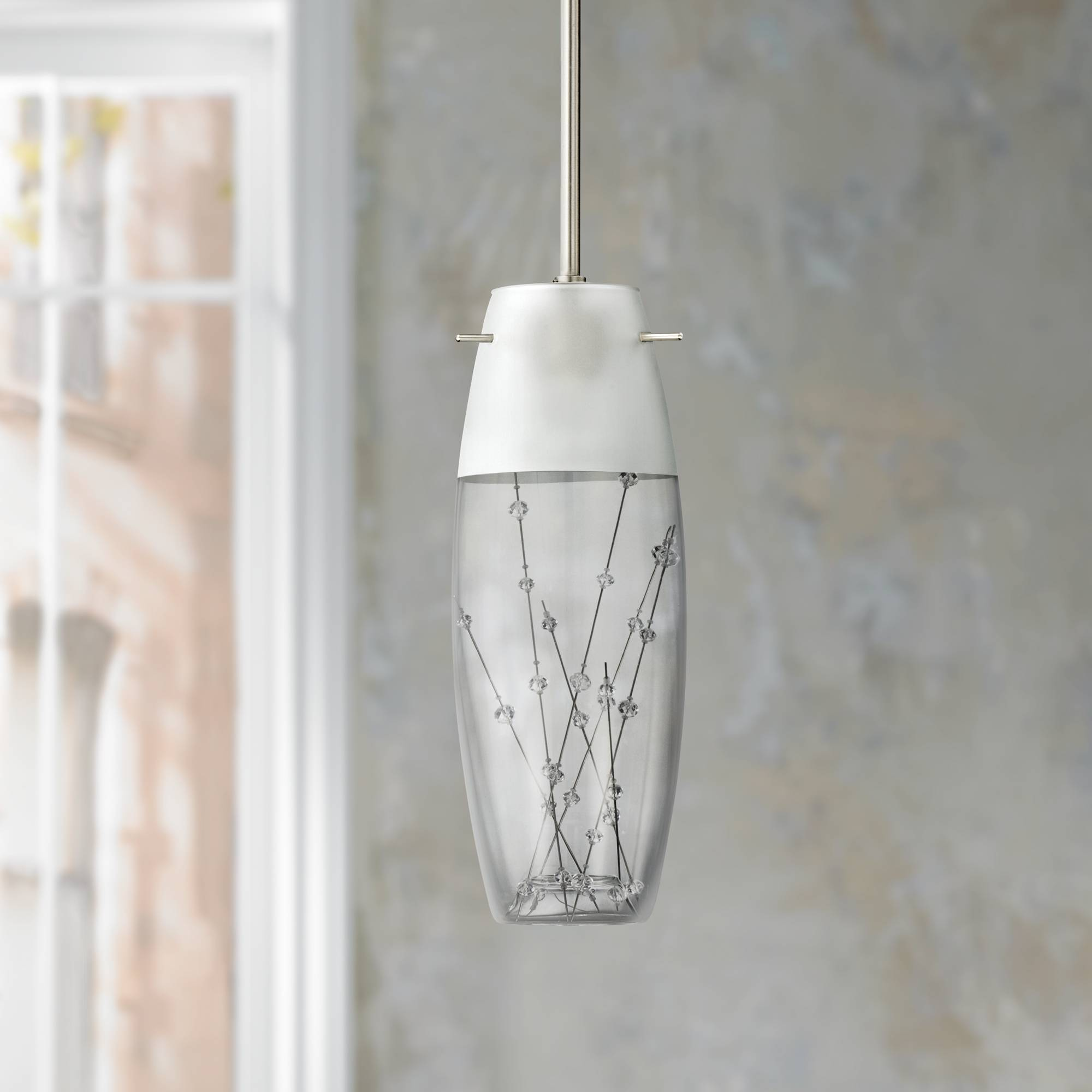 Contemporary etched art glass 4 wide mini pendant