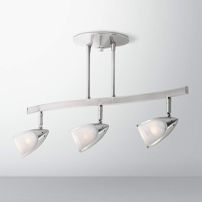 Comet 3-Light Brushed Steel Opal Glass Track Fixture
