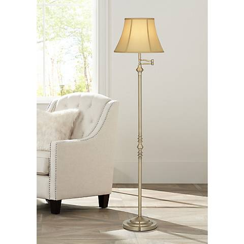 Montebello Antique Brass Swing Arm Floor Lamp with 9W LED Bulb