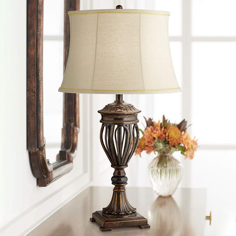 Traditional Bronze Open Urn Base Table Lamp
