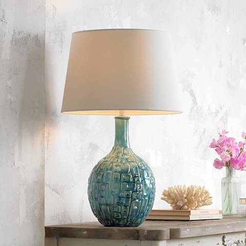 Mid century teal ceramic gourd table lamp
