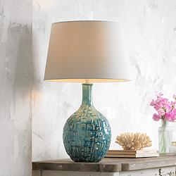 Mid-Century Teal Ceramic Gourd Table Lamp