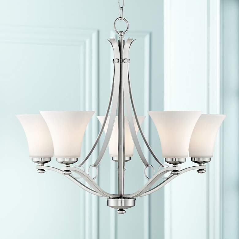 "Bollyn Nickel White Glass 26 1/2""W 5-Light Chandelier"