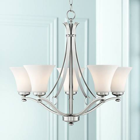 Bollyn nickel white glass 26 12w 5 light chandelier t8830 bollyn nickel white glass 26 12w 5 light chandelier mozeypictures Images