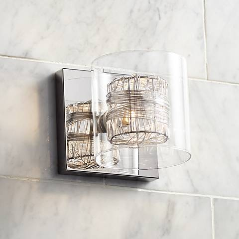 "Possini Euro Wrapped Wire 5"" High Chrome Wall Sconce"