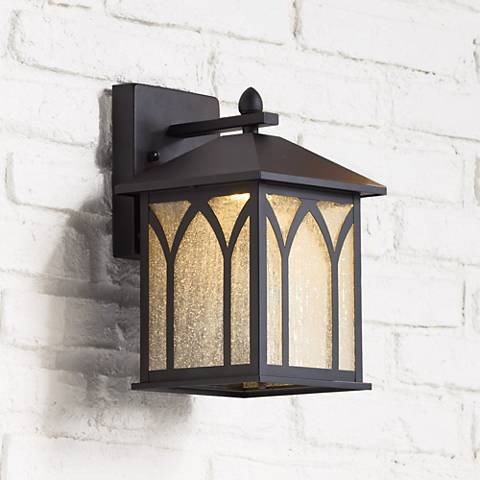 "LED Energy Efficient Black 11 1/2"" High Outdoor Wall Light"