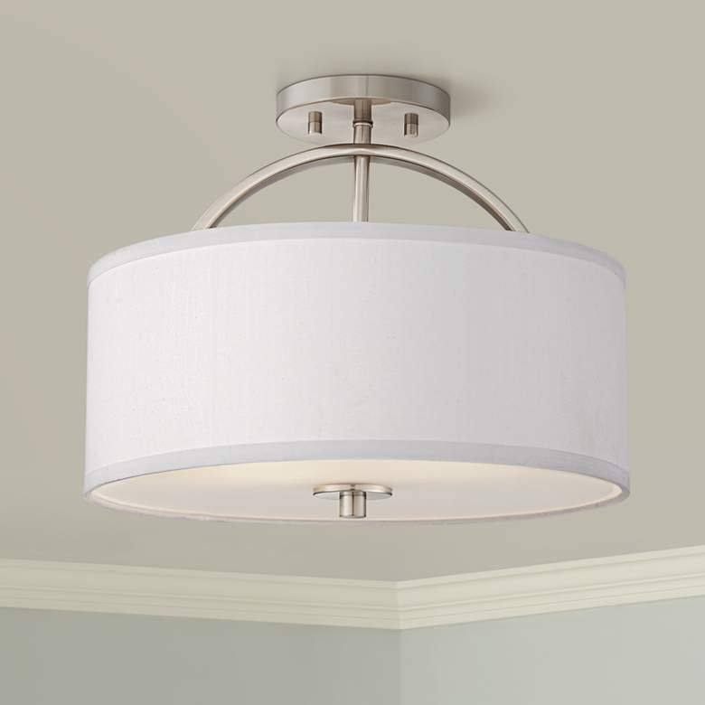"Possini Euro Halsted 15"" Wide Brushed Nickel Ceiling"