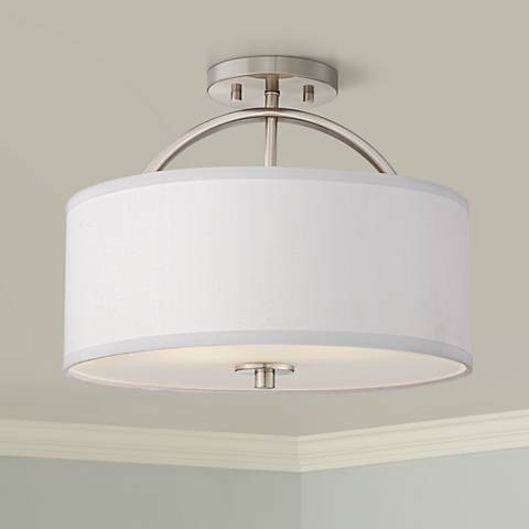 "Possini Euro Halsted 15"" Wide Brushed Nickel Ceiling Light"