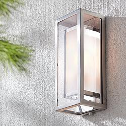 "Possini Euro Double Box 15 1/2""H Chrome Outdoor Wall Light"