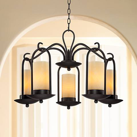 "Onyx Faux Stone Candle 30"" Wide Indoor-Outdoor Chandelier"