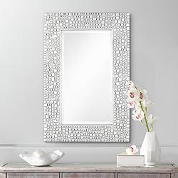 "Savla Textured Relief Silver 24"" x 36"" Wall Mirror"