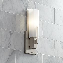 Possini Euro Midtown 15 High Satin Nickel Wall Sconce