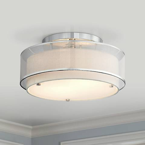 "Possini Euro Design Double Organza 16"" Wide Ceiling Light"