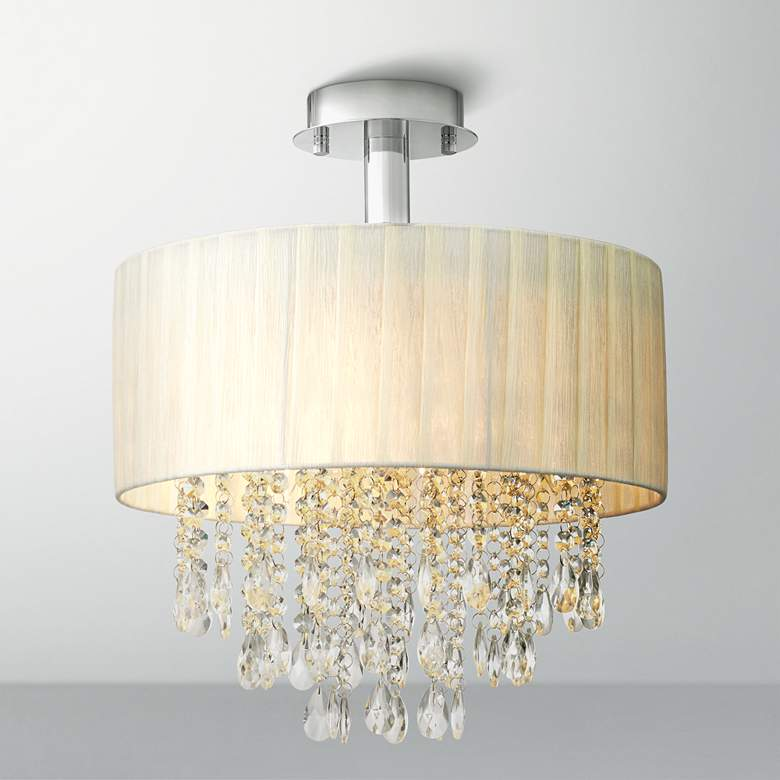 "Possini Euro Jolie 15"" Wide Ivory and Crystal Ceiling Light"