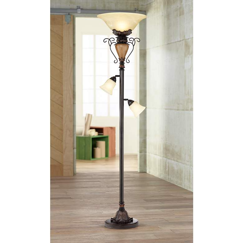"Bronze Crackle 72"" High Tree Torchiere Floor Lamp"