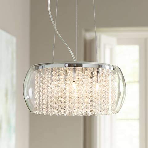 "Possini Euro Crystal Rainfall Glass Drum 17"" Wide Chandelier"