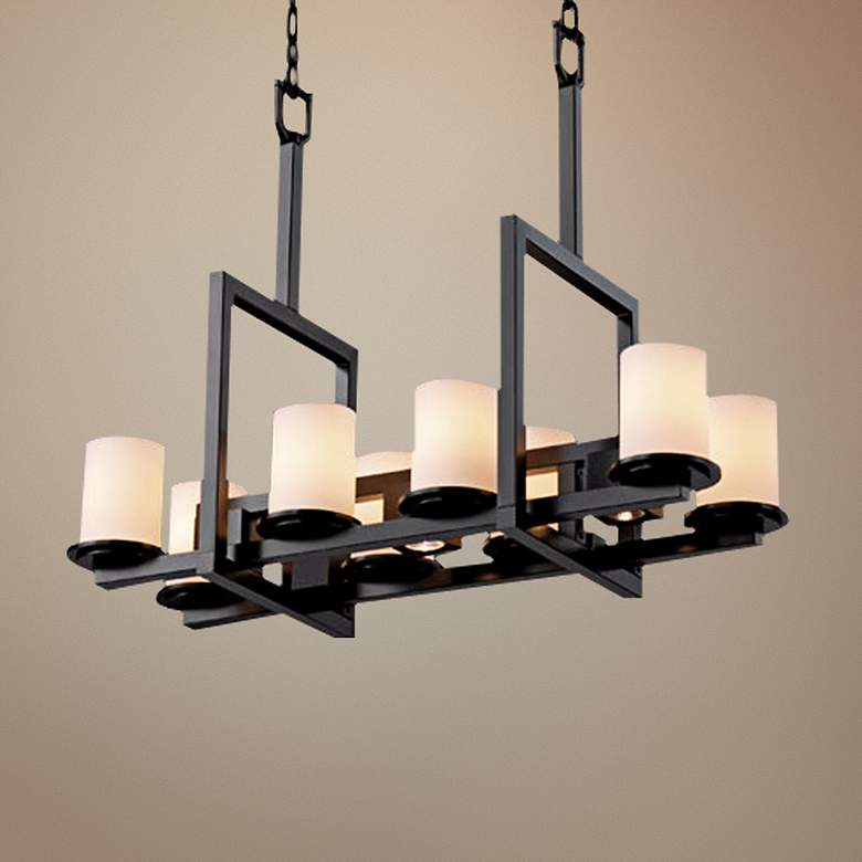 Bridge Black Artisanal Opal Eleven Light Island Chandelier