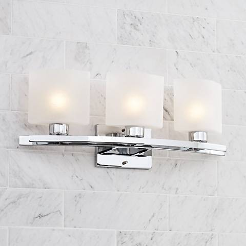 "Possini Euro Linen Glass 23 1/2"" Wide Chrome Bath Light"