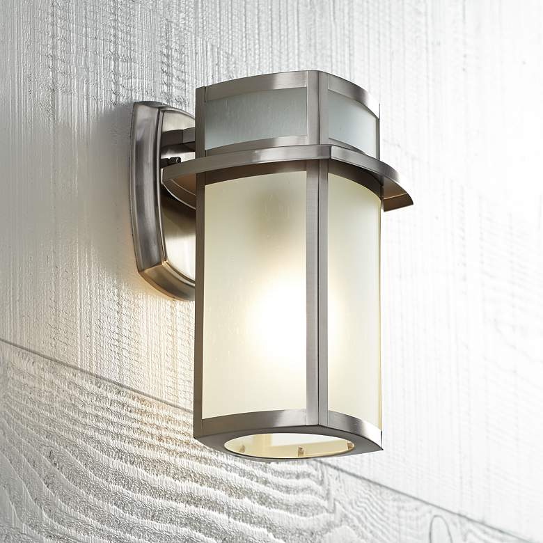 "Delevan 11 1/4"" High Brushed Nickel Outdoor Wall Light"